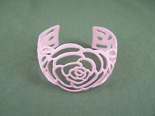 "cuff bracelet rose flower Pink painted enamel cutout metal bangle 1 5/8"" wide"