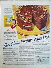 1936 Betty Crocker Favorite Fudge Cake Recipe Original Ad
