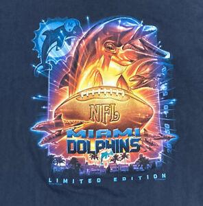 VTG Miami Dolphins Graphic TD Tshirt Limited Edition 1999 Size 2XL XXL LEE Sport