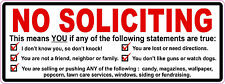 No Soliciting Vinyl Sticker Decal Sign No Trespassing *FREE DOMESTIC SHIPPING*