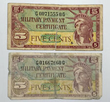 5 Cents Military Payment Certificate (MPC) Series 591 5¢ Circulated Notes PAIR