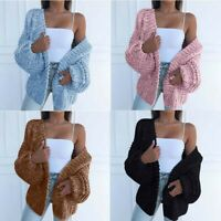 Sweater Knitted Sleeve Front CardiganWomen  Casual Open Coat Puff Ladies Outwear