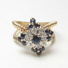 Estate 10K Yellow Gold Natural Round Blue Sapphire And Diamond Ring 0.85 Cts