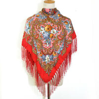 AUTHENTIQUE Foulard Châle Russe en coton Rouge