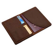 Mens Vintage Leather Travel Wallet Bifold passport Clips Ticket Case Card Holder
