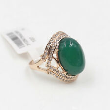 Genuine Rose Gold Emerald-Green Jade Engagement Eternity Ring size 7.5