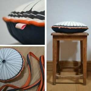 Bicycle Wheel Cushion 'GIFT' : Blue / Orange : made in U.K by Stitch-Mi-Lane