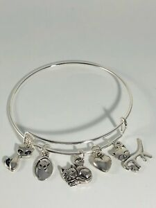 Cat Lovers All Cats Silver charms Expandable Bangle Bracelet