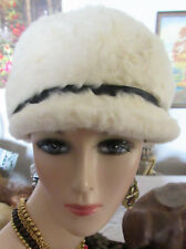 Real Fur White Vintage  Cap Hat