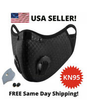 USA Reusable Washable Dual Air Valve Face Mask Carbon Activated Filter