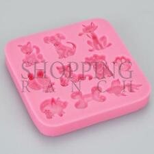 Dog Cat Bone Pig Fish Paw Print Silicone Mould Cupcake Topper Mold