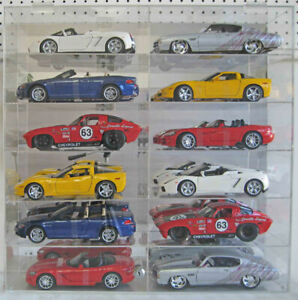 Display Case Wall Cabinet Acrylic for 1:18 Scale Diecast Nascar Cars Hot Wheels