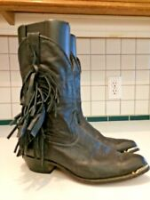 Women's Acme Fringe Black Leather Boots Size 8.5 M (Lot C)