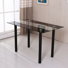 Modern Glass Dining Table Kitchen Dinette Metal Leg Home Decoration Furniture US