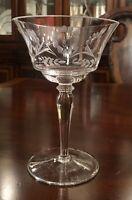 Rare Vintage/Antique Set of 3 Clear Crystal Optic Stem Glasses Etched Flowers