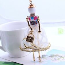 Lovely Girls Shaped Doll Full Rhinestones Pendant Necklaces Long Sweater Chain White