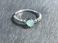 Handmade beaded ring with Chalcedony stone in 925 Sterling Silver.
