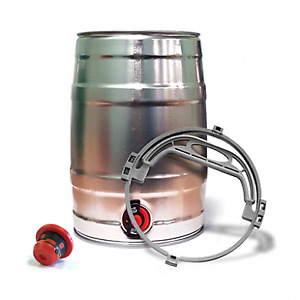 1 x Mini Beer/Cocktail Keg with Tap SILVER Inc Handle and Bung (5 Litre)