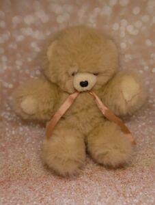 32 - PELUCHE HISTOIRE D OURS BEIGE MARRON CLAIR FOURRURE DOUCE TEDDY BEAR NEUF