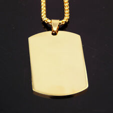 Jewelry Men's Dog Tag Pendant Necklace Charming Stainless Steel 18K Gold Plated