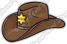 "Old Western Sheriff Hat Wild West Cowboy Car Bumper Vinyl Sticker Decal 5""X3.5"""