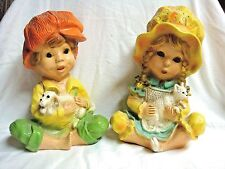 2 UNIVERSAL STATUARY 1974 Girl w/ Kitten & Boy w/ Puppy #293 - Colors Vibrant