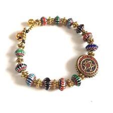 "Circle Nepal Charm Bracelet. 7 "" #Bl10 1 pcs. Brass Bead Chain Bead Nepal"