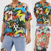 INCERUN Men's Tie Dye Holiday T shirt Collar Neck Short Sleeve Shirt Tee Blouse