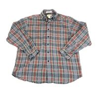 LL BEAN Gray/Red Plaid 100% Cotton Flannel Traditional Fit Shirt Size M