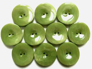 Lot de 10 boutons vintage - Plastique vert avocat 29 mm
