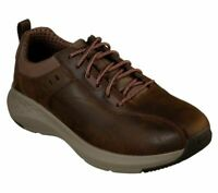 Leather Skechers Brown Shoes Men Memory Foam Sporty Casual Comfort Oxford 66006