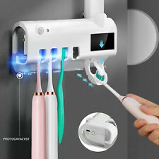 UV Light Toothbrush Holder Cleaner Toothpaste Dispenser Wall Mount