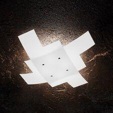 Plafoniera in vetro bianca e cromata moderna a 4 luci tpl 1120/75