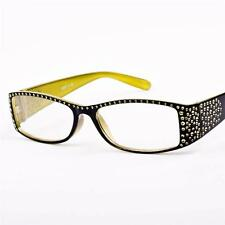 New Womens Ladies Diamante Black/Yellow Reading Glasses +1.25 S67