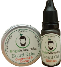 Beard Balm & Oil Set. Organic, Vegan, Growth Kit, Conditioning, Styling, Taming