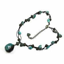 "Turquoise and Antique Gold Corded Necklace 16"" Long + 3"" extender Chain"