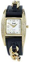 Damenuhr Weiß Gold Schwarz Strass Analog Leder Armbanduhr D-60356119825599