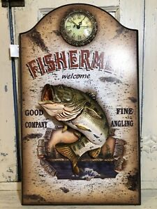 "Clock Decor Fishermen Welcome Wood Wall Hanging 21"" X 12"" X 2 1/2"" Cabin Lodge"