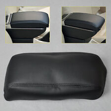 Black Leather Front Console Lid Armrest Covers Skin For 1998-2002 Honda Accord