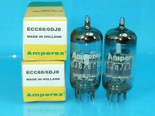 AMPEREX WHITE LABEL 6DJ8 ECC88 VACUUM TUBE SUPER SWEET DUTCH TONE MATCH PAIR
