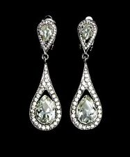 Vintage Inspired Crystal Clip-On Long Bridal Dangle Earrings (Sparkle-2121)