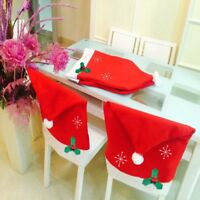 Christmas Santa Hat Dining Chair Back Covers Snowflake Xmas Table Decor Red