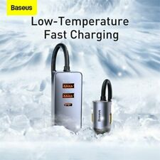 Baseus Fast Car Charger 120W Quick Charging USB Type C Port W/ Cable For Samsung