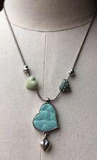Mint Green Enamel & Rhinestone Pilgrim Heart Necklace /Designer/Danish/Occasion