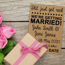 Pack of 25 Recycled Brown Kraft Funny S*** Got Real Wedding Save the Date Cards