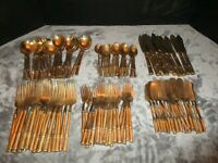 BELIEVED TO BE BRASS OVER 20 LBS GOLD FLATWARE BAMBOO STAR OF SIAM 129 PIECES