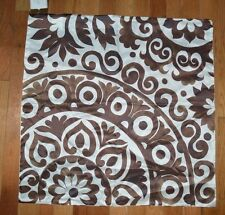 "Pottery Barn Oversize Silk Medallion Floral Print Brown Ivory 24"" #8"