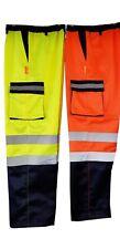 "Men's Two 2 Tone Hi Vis visibility Polycotton Cargo Combat Work Trousers  32""-40"