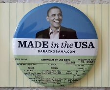 Barack Obama Made in the USA 2008 pin button, large