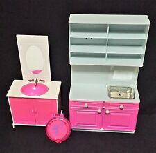 Barbie Doll Glam Sink Vanity Mirror Dream House My Home Bathroom Kitchen
